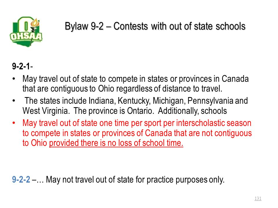 Bylaw 9-2 – Contests with out of state schools