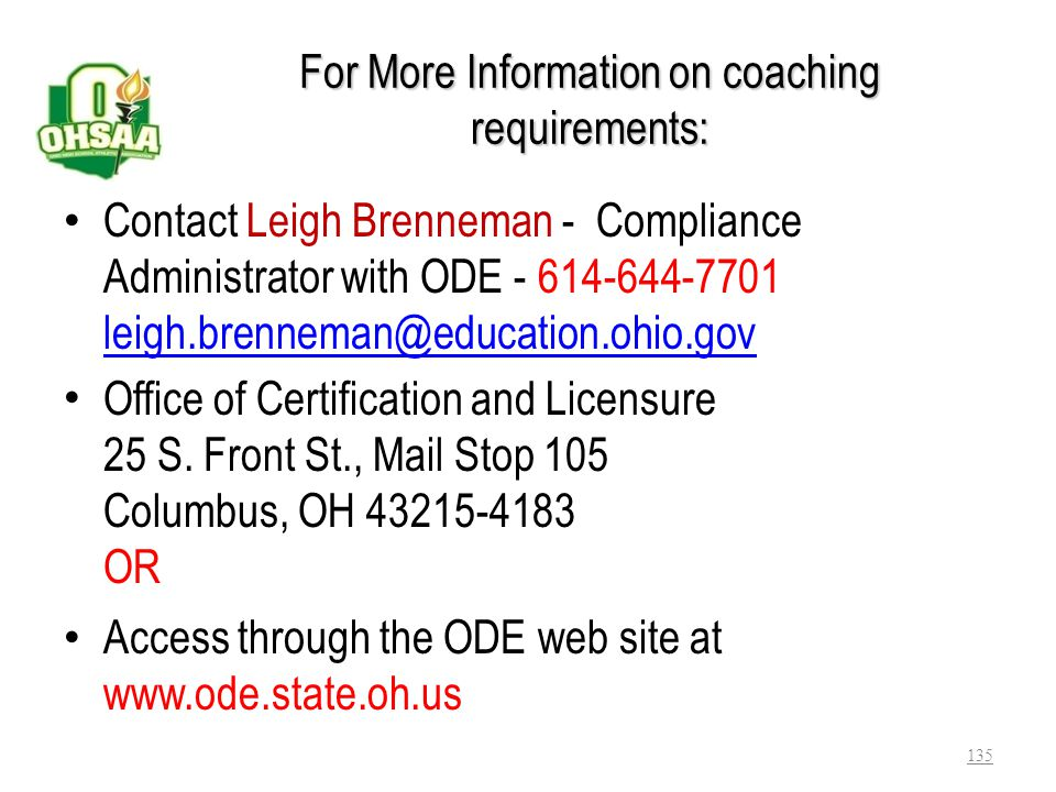 For More Information on coaching requirements: