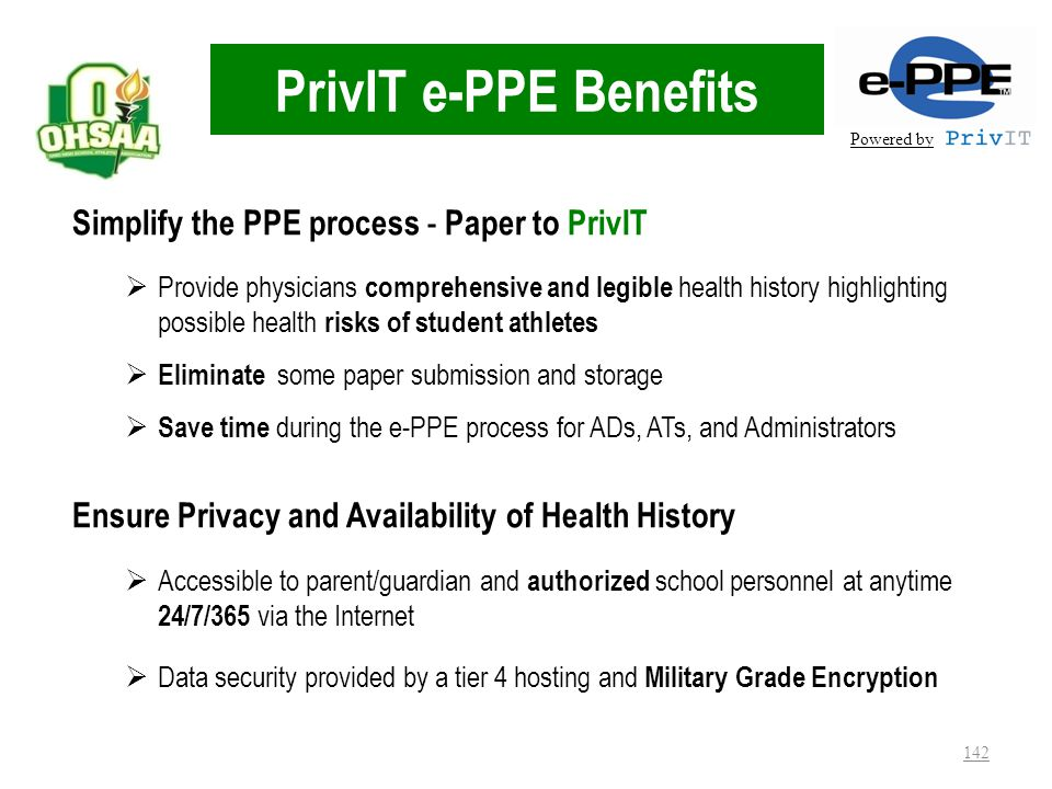 PrivIT e-PPE Benefits Simplify the PPE process - Paper to PrivIT