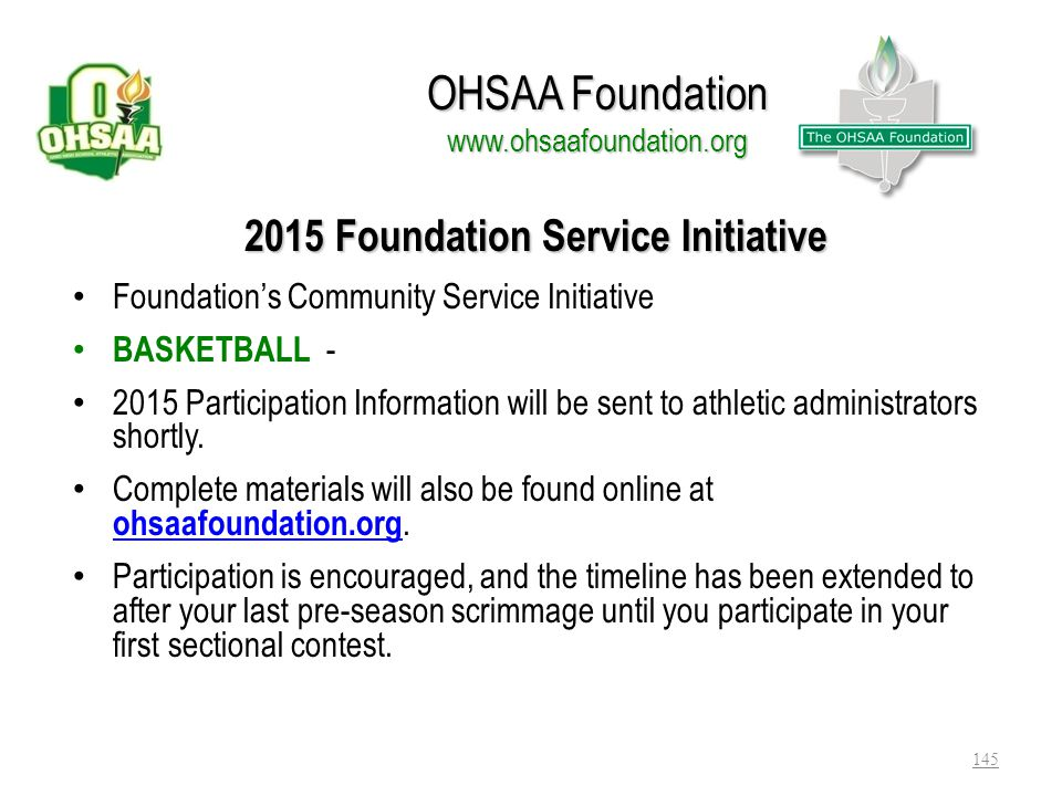 OHSAA Foundation www.ohsaafoundation.org