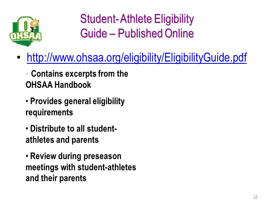 Student- Athlete Eligibility Guide – Published Online