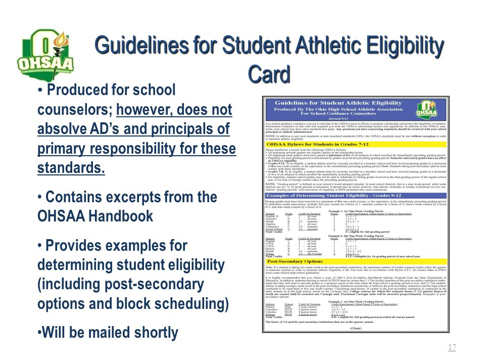 Guidelines for Student Athletic Eligibility Card