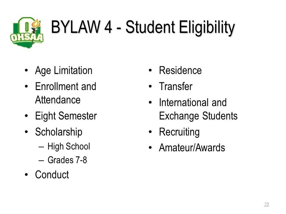 BYLAW 4 - Student Eligibility