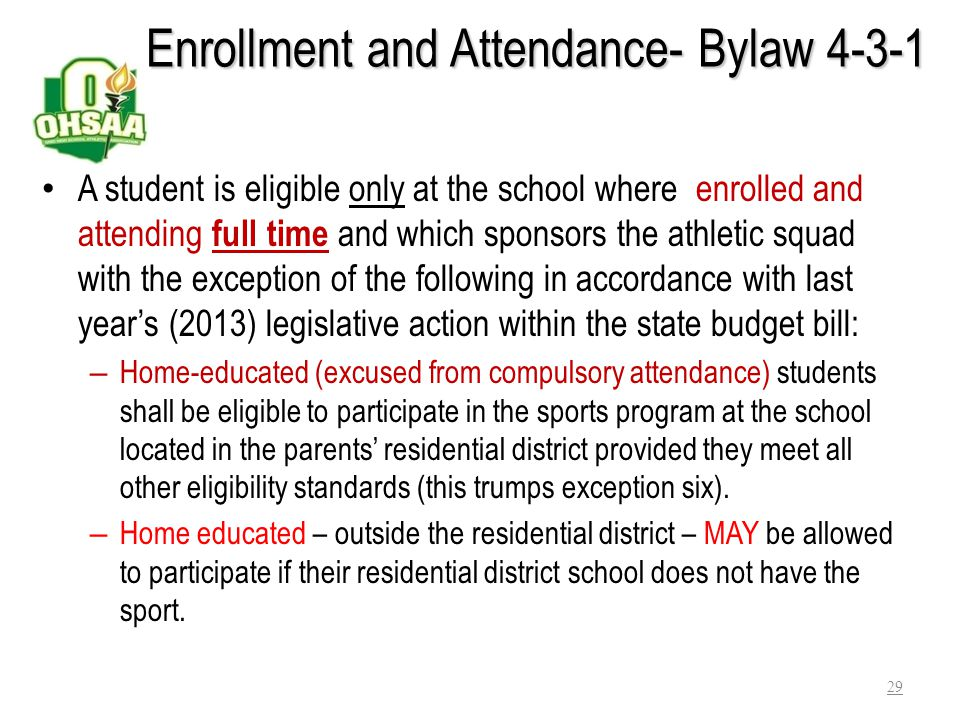 Enrollment and Attendance- Bylaw 4-3-1
