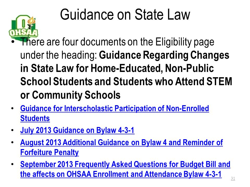 Guidance on State Law
