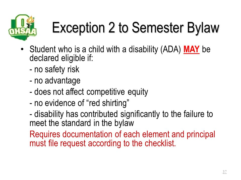 Exception 2 to Semester Bylaw