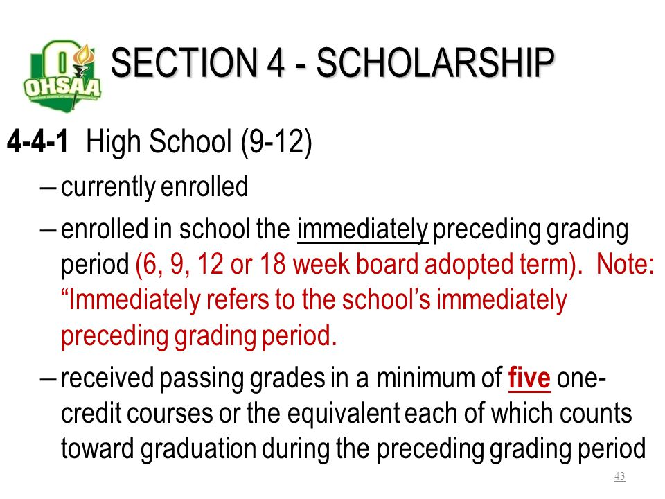 SECTION 4 - SCHOLARSHIP 4-4-1 High School (9-12) currently enrolled