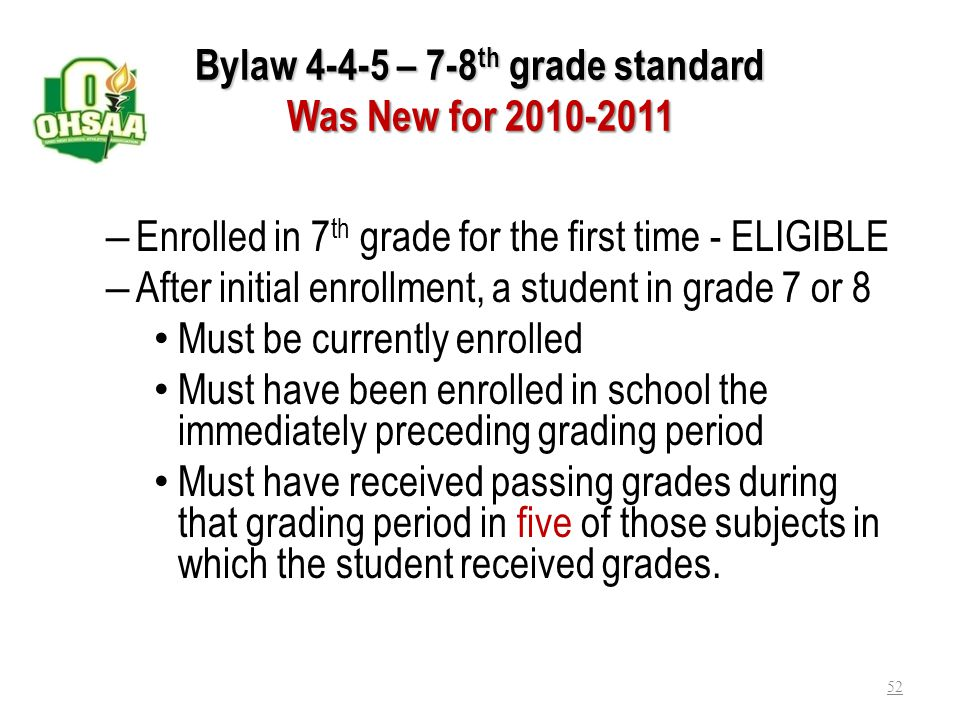 Bylaw 4-4-5 – 7-8th grade standard Was New for 2010-2011