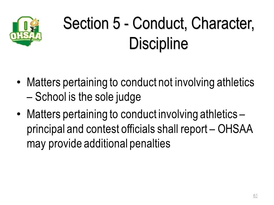 Section 5 - Conduct, Character, Discipline