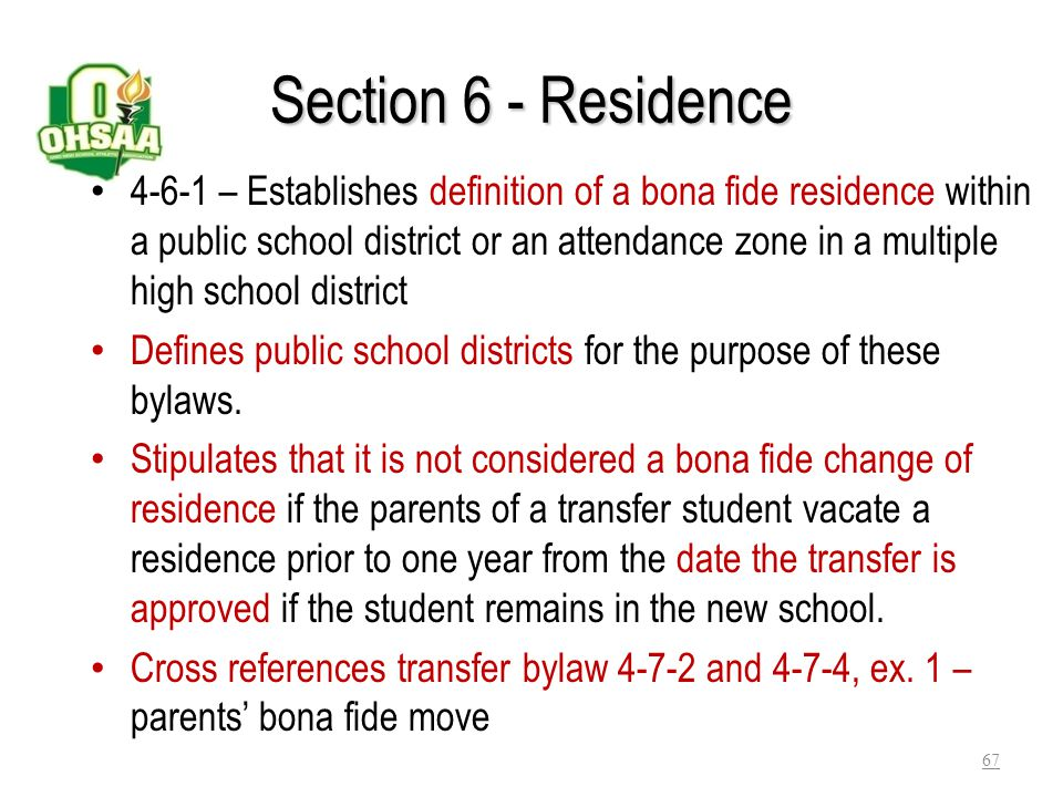 Section 6 - Residence