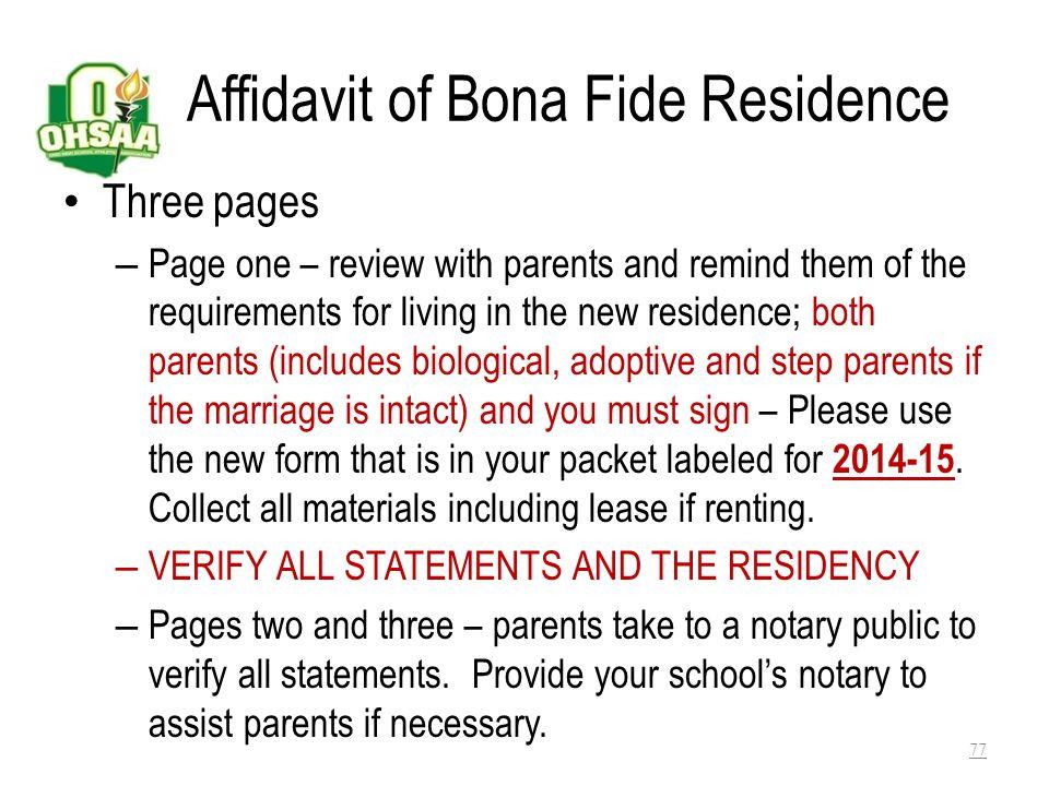 Affidavit of Bona Fide Residence