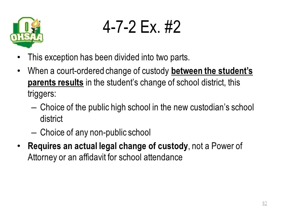 4-7-2 Ex. #2 This exception has been divided into two parts.