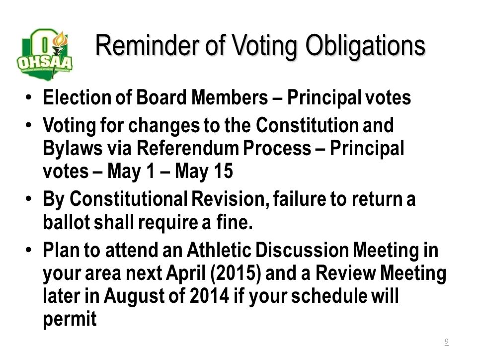Reminder of Voting Obligations