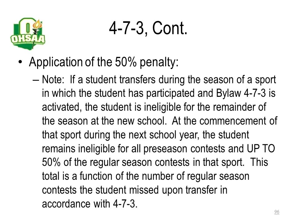 4-7-3, Cont. Application of the 50% penalty: