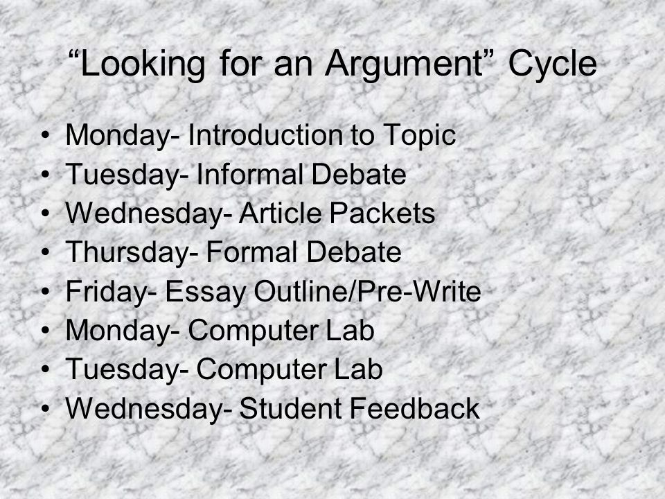 Looking for an Argument Cycle