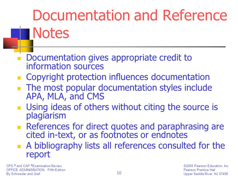 Documentation and Reference Notes