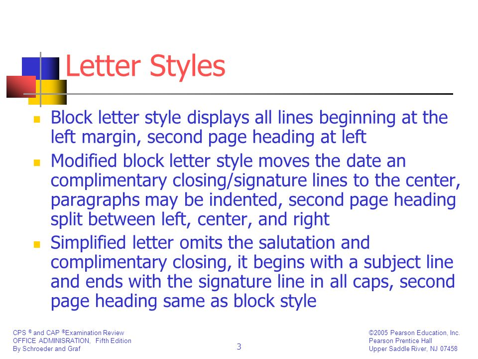 Letter Styles Block letter style displays all lines beginning at the left margin, second page heading at left.