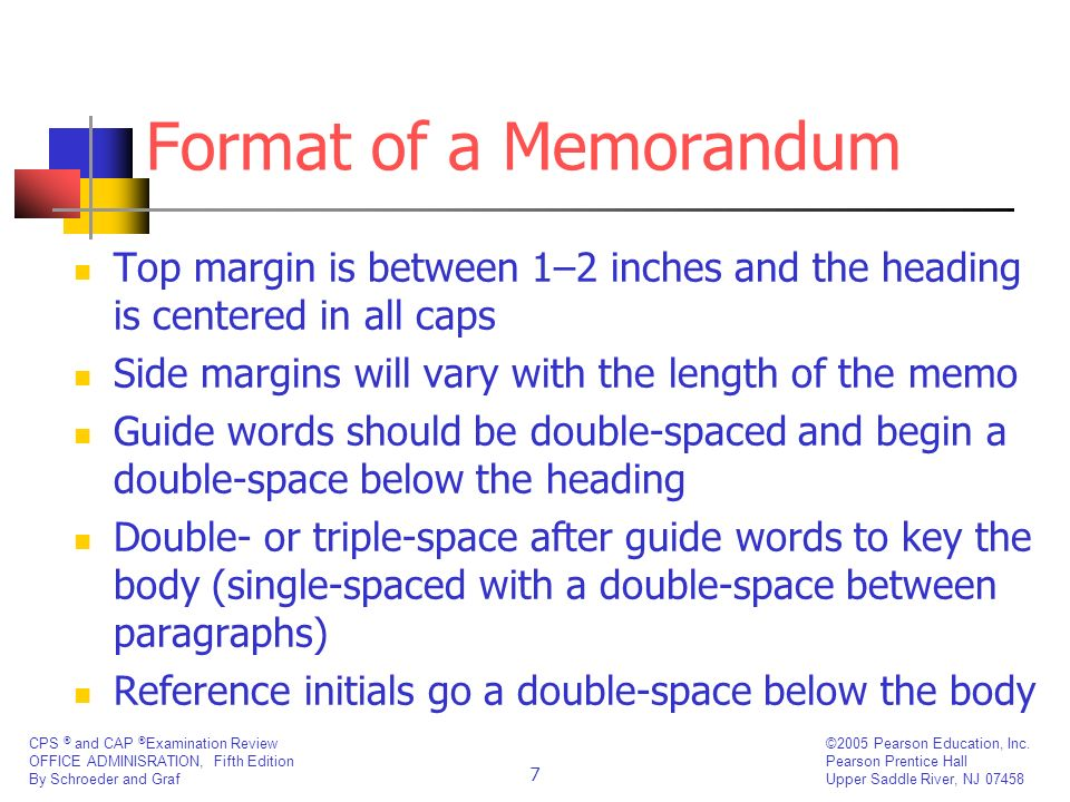 Format of a MemorandumTop margin is between 1–2 inches and the heading is centered in all caps. Side margins will vary with the length of the memo.