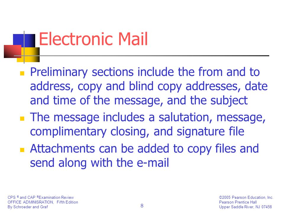 Electronic MailPreliminary sections include the from and to address, copy and blind copy addresses, date and time of the message, and the subject.
