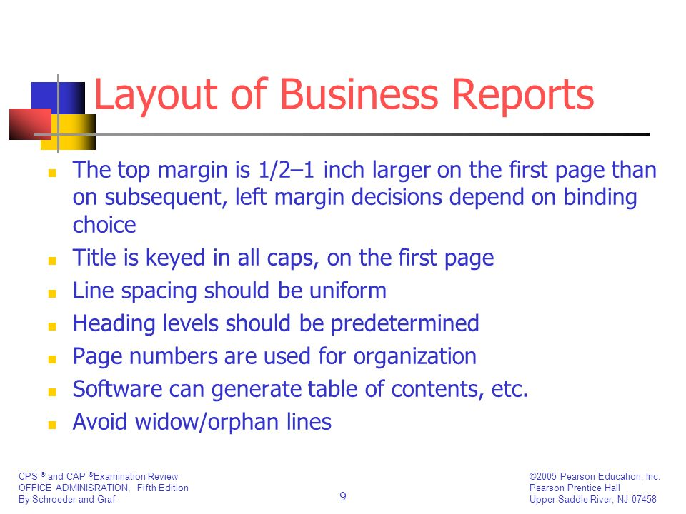 Layout of Business Reports
