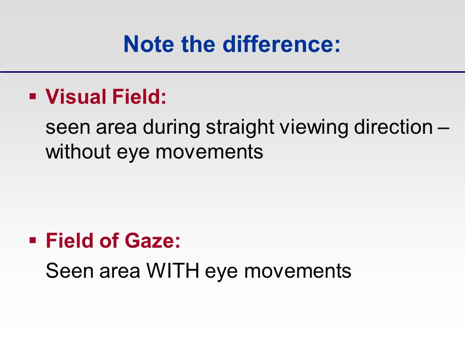 Note the difference: Visual Field: