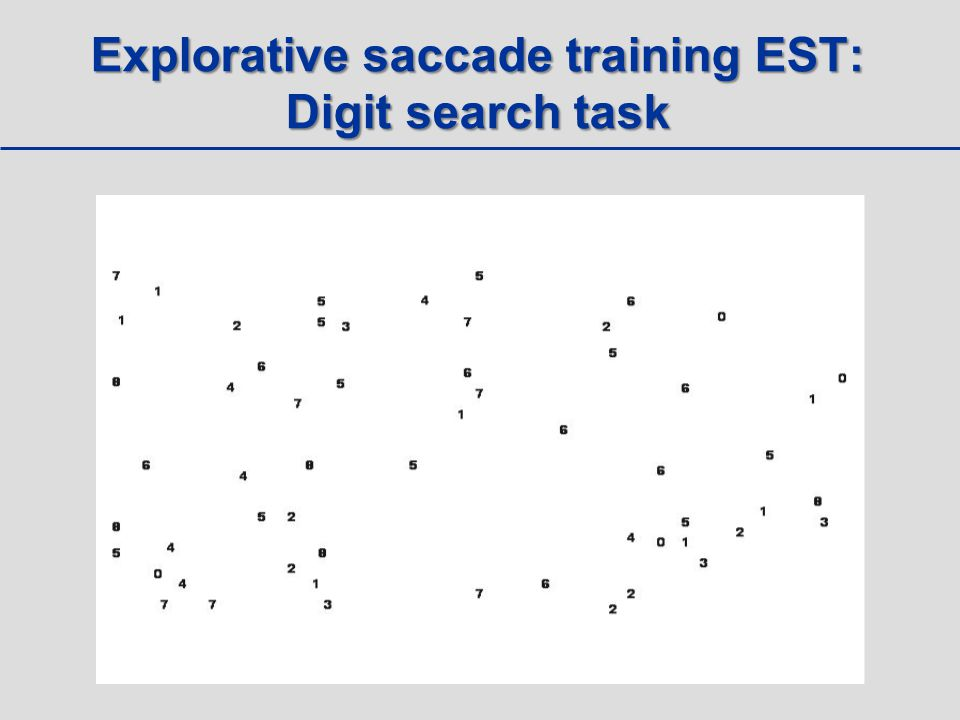 Explorative saccade training EST: Digit search task