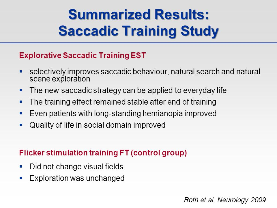 Summarized Results: Saccadic Training Study