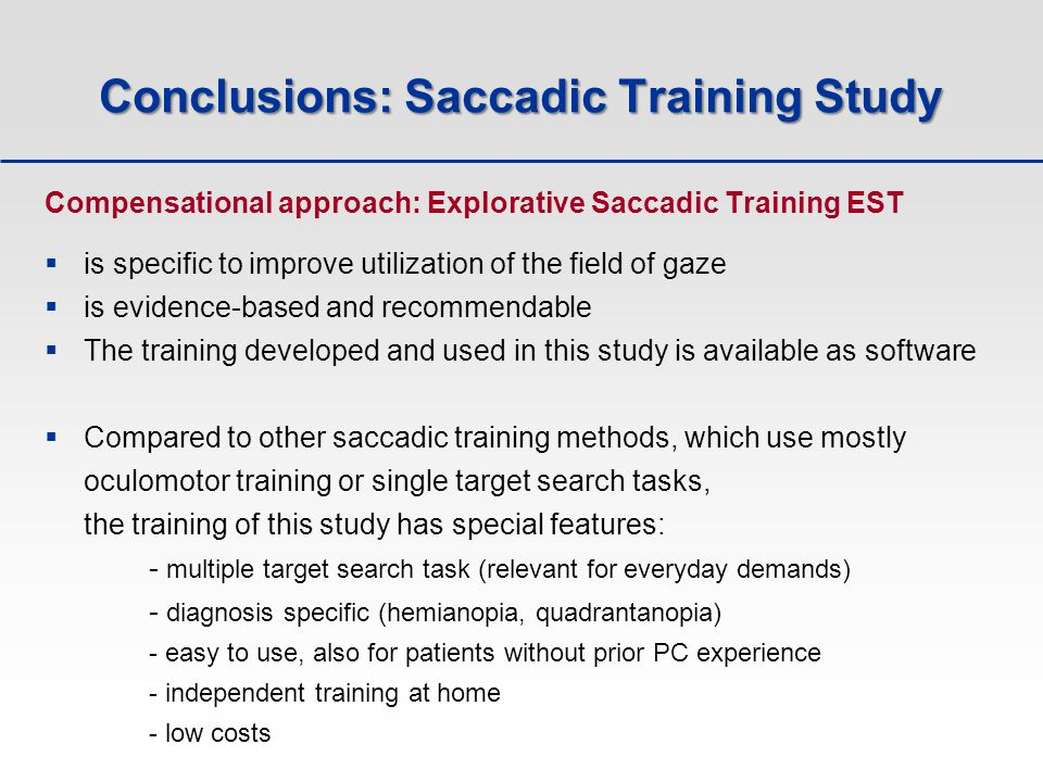 Conclusions: Saccadic Training Study