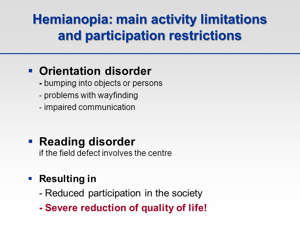Hemianopia: main activity limitations and participation restrictions