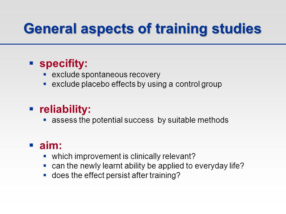 General aspects of training studies
