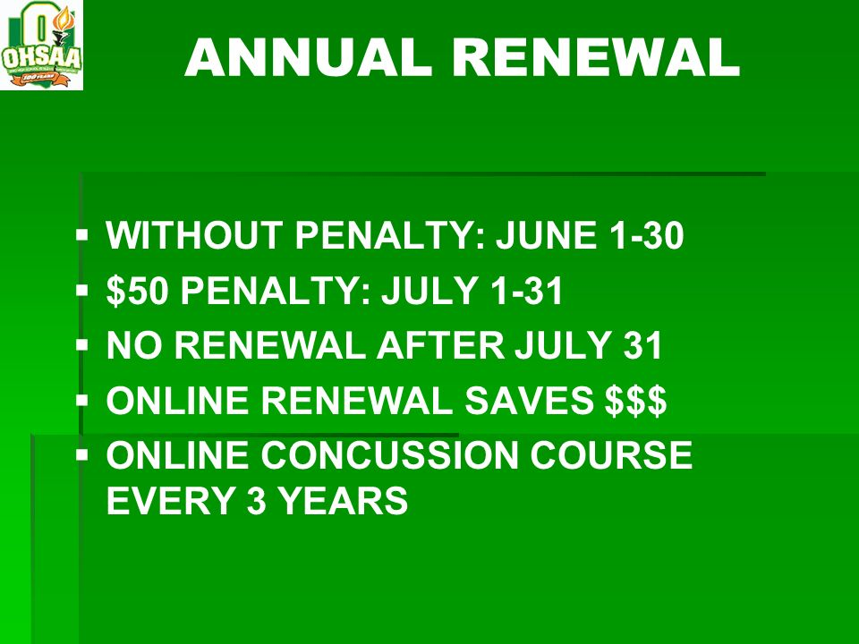 ANNUAL RENEWAL WITHOUT PENALTY: JUNE 1-30 $50 PENALTY: JULY 1-31