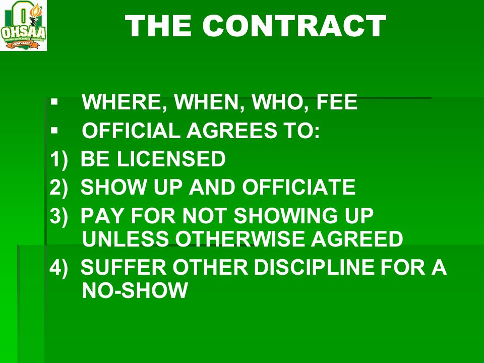 THE CONTRACT WHERE, WHEN, WHO, FEE OFFICIAL AGREES TO: 1) BE LICENSED
