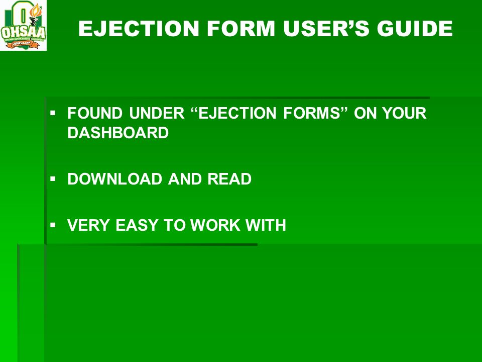 EJECTION FORM USER'S GUIDE