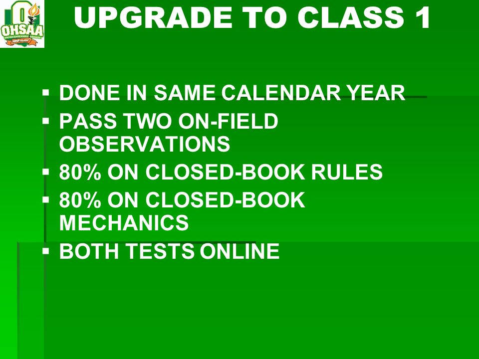 UPGRADE TO CLASS 1 DONE IN SAME CALENDAR YEAR