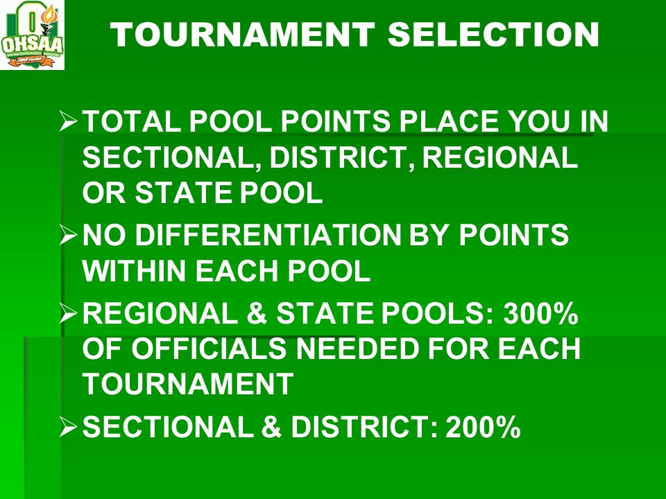 TOURNAMENT SELECTION TOTAL POOL POINTS PLACE YOU IN SECTIONAL, DISTRICT, REGIONAL OR STATE POOL. NO DIFFERENTIATION BY POINTS WITHIN EACH POOL.