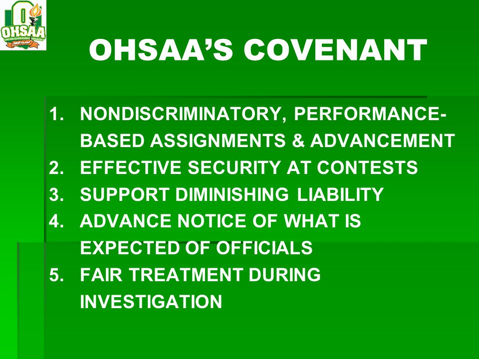 OHSAA'S COVENANT 1. NONDISCRIMINATORY, PERFORMANCE-