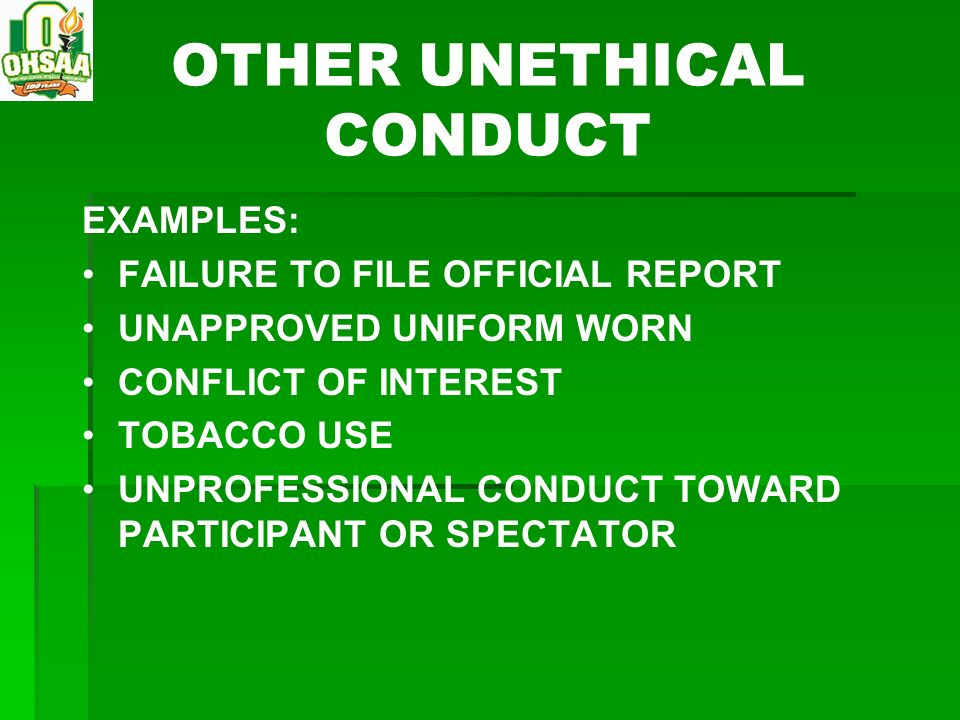 OTHER UNETHICAL CONDUCT