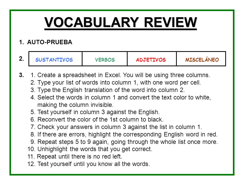 VOCABULARY REVIEW 1. AUTO-PRUEBA 2. 3.