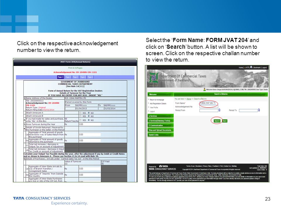 Click on the respective acknowledgement number to view the return.