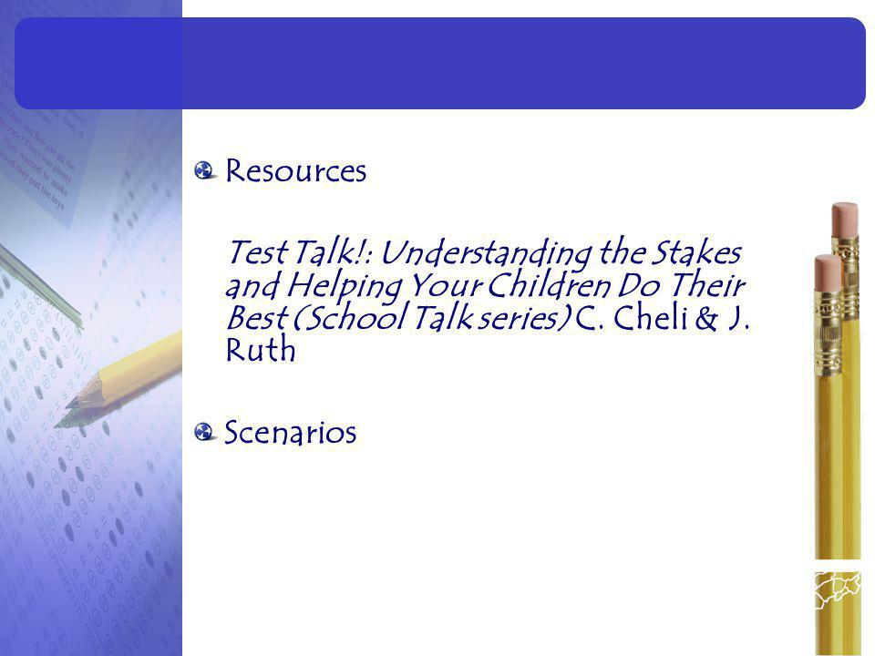 Resources Test Talk!: Understanding the Stakes and Helping Your Children Do Their Best (School Talk series) C. Cheli & J. Ruth.