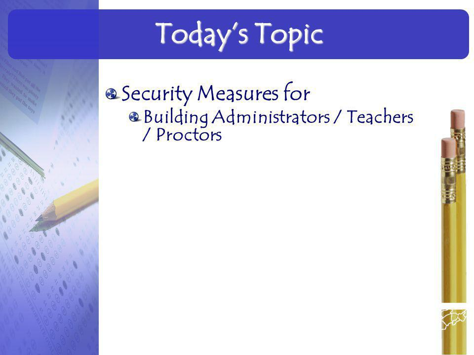 Today's Topic Security Measures for