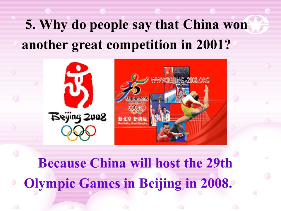 5. Why do people say that China won another great competition in 2001