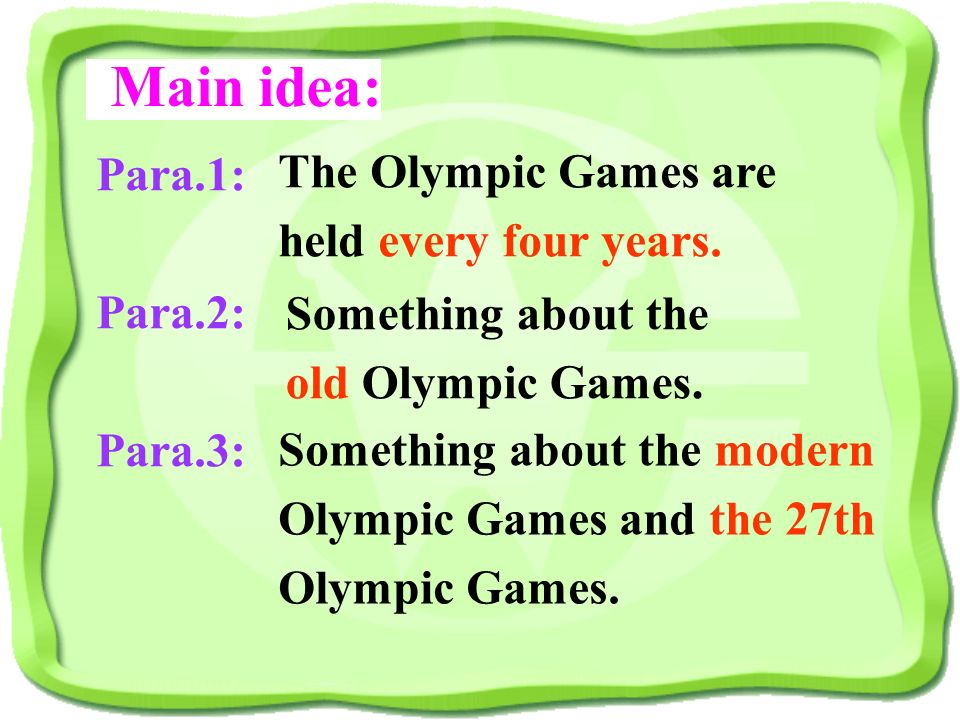 Main idea: The Olympic Games are held every four years. Para.1: