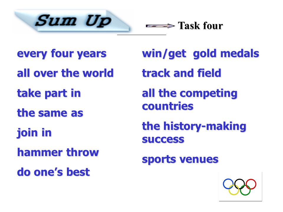 Task fourevery four years. all over the world. take part in. the same as. join in. hammer throw. do one's best.