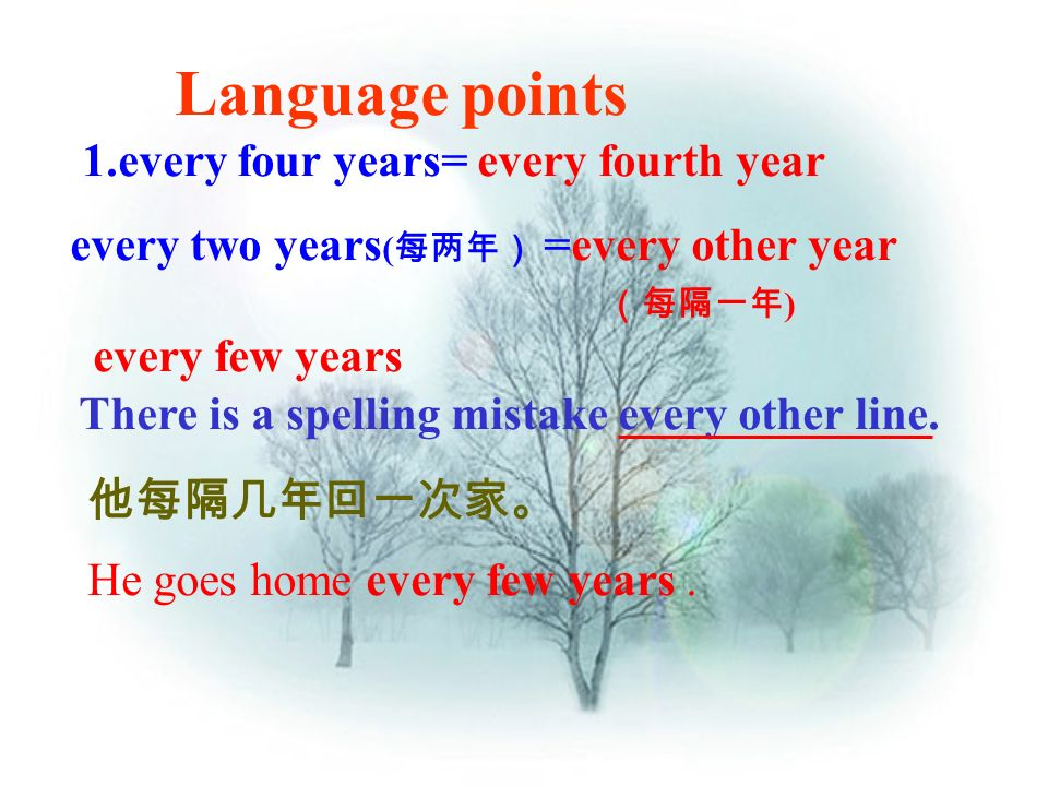 Language points 1.every four years= every fourth year