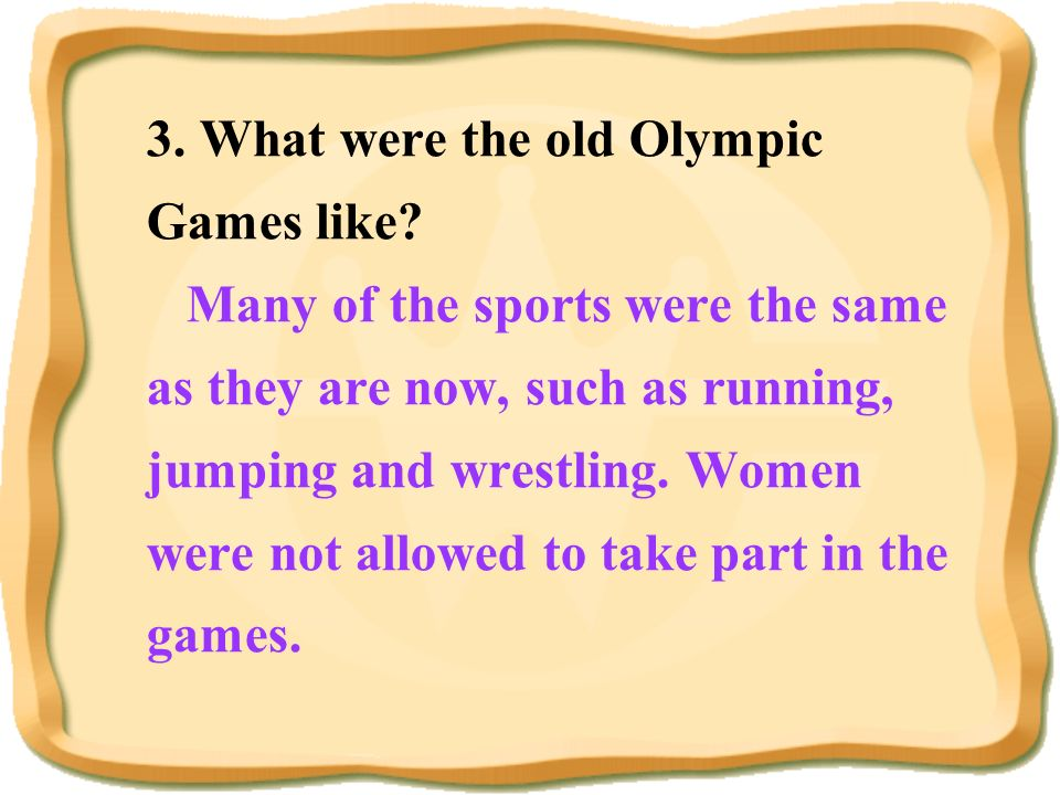 3. What were the old Olympic Games like