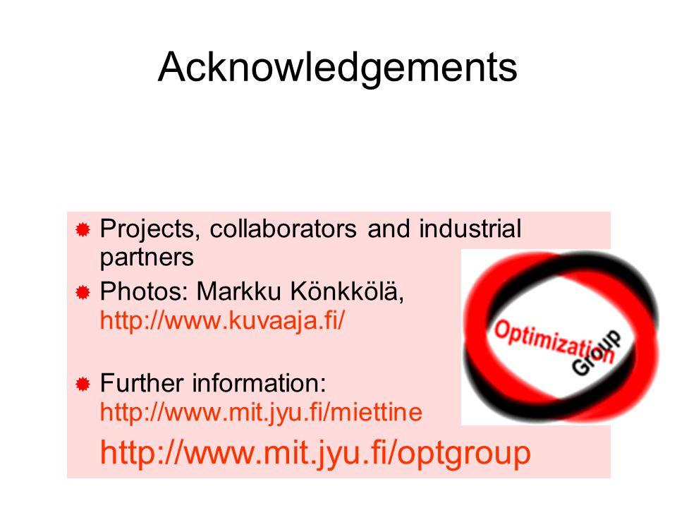 Acknowledgements http://www.mit.jyu.fi/optgroup