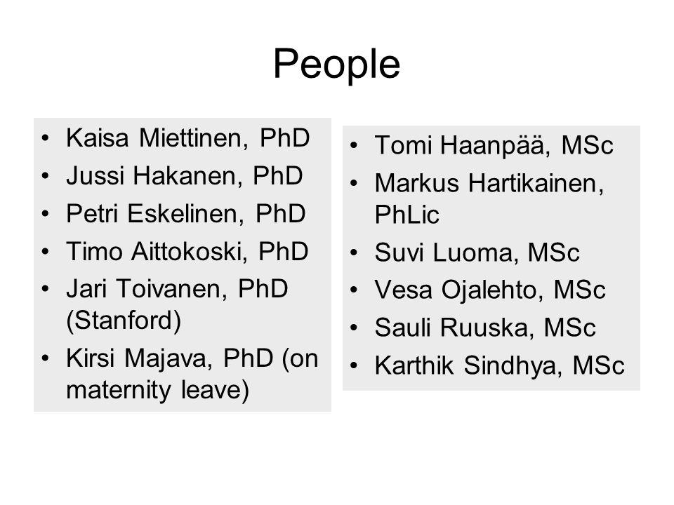 People Kaisa Miettinen, PhD Tomi Haanpää, MSc Jussi Hakanen, PhD