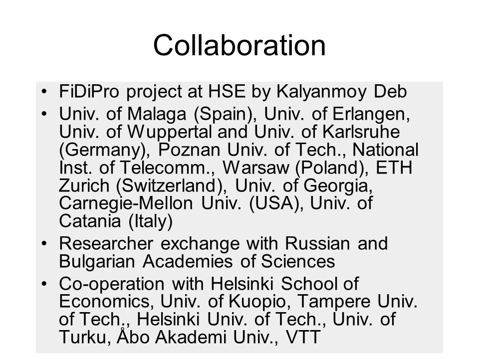 Collaboration FiDiPro project at HSE by Kalyanmoy Deb