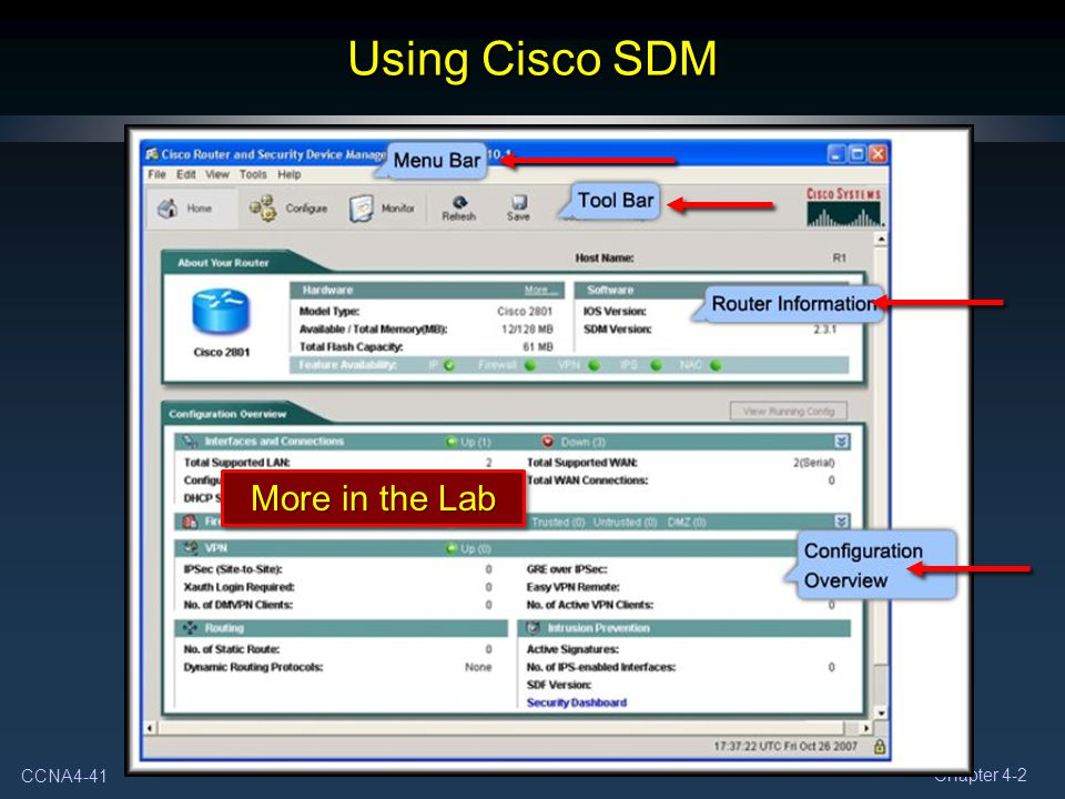 Using Cisco SDM More in the Lab